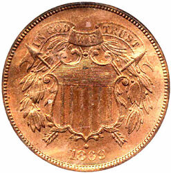 1869 2c Red Color-recut Date Variety - Two Cents++