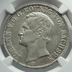 1860 Germany German States Saxony King Frederick Augustus Silver Coin Ngc I79705
