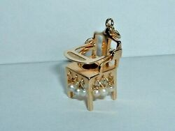 Vintage 14k Yellow Gold 3d Moveable Baby High Chair Potty Charm