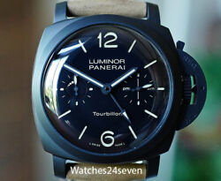 Panerai PAM 396 LUMINOR 1950 TOURBILLON GMT AUTO CERAMICA 48MM Retail $142100