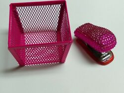 Office Supplies - Miniature Pink Wire Basket And Stapler