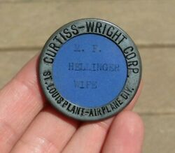 Ww2 Curtiss Wright Aircraft Manufacturer Id Identification Employee Badge Pin