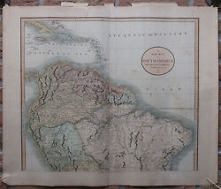 2 Antique Prints-map-south America-two Sheets-cary-1811