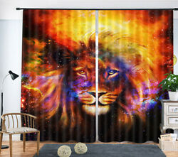 3D Blackout Drape Colorful Starry Sky Lion Print Art Decor Fabric Window Curtain