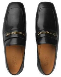 New Menand039s Current Black Leather Horsebit Double G Loafers Shoes 7/us 7.5