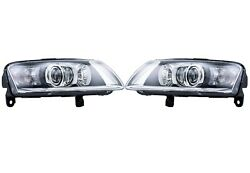 Pair Set Of Two Fron Bi-xenon Headlights Lamps Assies Hella For Audi A6 Quattro