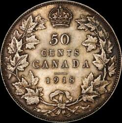 Canada 1918 Silver 50 Cents Km 24 Pcgs Ms63