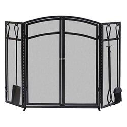 Panacea 15138 Arch Fireplace Screen With Doors And Tools Black