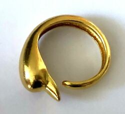 18k .750 Yellow Gold Ilias Lalaounis Greece Dolphin Ladies Ring Band Adjustable