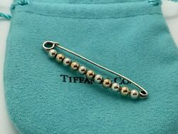 And Co Sterling Silver 14k Yellow Gold Safety Diaper Ball Booby Pin Brooch