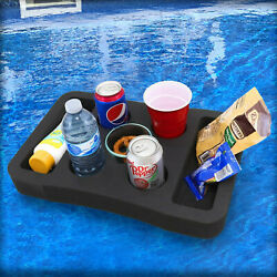 Floating Pool Drink Holder Table Party Tray Durable Black Foam 7 Compartments