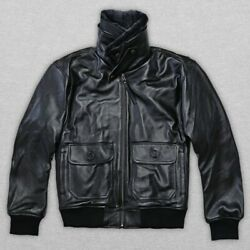 Menand039s Flight Bomber Cow Leather Jacket Shearling Fur Collar Winter Short Coat