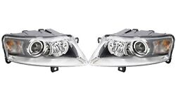 Pair Set Of 2 Front Bi-xenon Headlights With Auto Level Hella For Audi A6 05-08