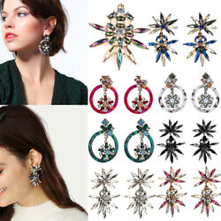 Boho Fashion Women Crystal Flower Drop Dangle Earrings Ear Stud Jewelry Gifts