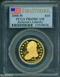 2008-W $10 GOLD PROOF JACKSON's Liberty FIRST SPOUSE PCGS PF69 PR69 FIRST STRIKE
