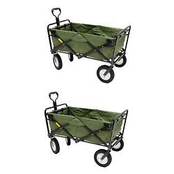 Mac Sports Collapsible Folding Steel Frame Garden Utility Wagon Cart 2 Pack
