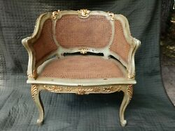 Vintage French Louis Xvi Double Cane Chair Antique Green With Gilded Accents