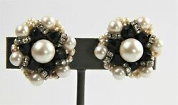 ESTATE VINTAGE Jewelry HIGH END FX PEARL RHINESTONE RONDELLE CRYSTAL EARRINGS