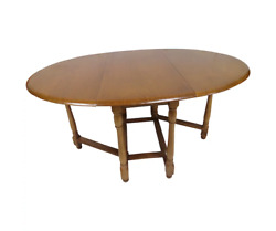 Vintage English Solid Wood Gate Leg Drop Leaf Oval Dining Table - 1970's