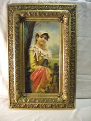 Pair of Italian paintingswith women dressed withsigned by Francesco Ballesio