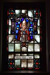 + Nice Older Stained Glass Church Window + Pope + 51 Of 58 Chalice Co.
