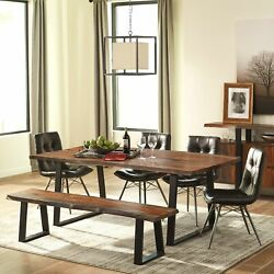 Artistic Live-Edge Design Dining Set with Button Tufted