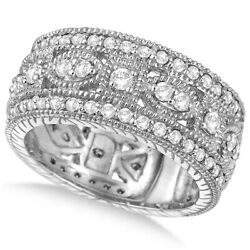 1.37ct Luxury Antique Diamond Byzantine Wide Band Ring In 14k White Gold
