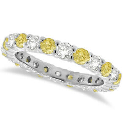 1.07ct Fancy Yellow Canary And White Diamond Eternity Ring Band 14k White Gold