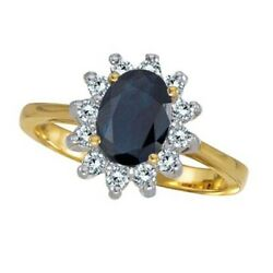 2.10tcw Lady Diana Oval Blue Sapphire And Diamond Right Hand Ring 14k Yellow Gold