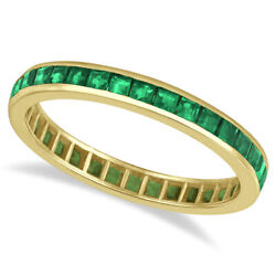 1.36ct Channel Set Princess-cut Green Emerald Eternity Ring Band 14k Yellow Gold