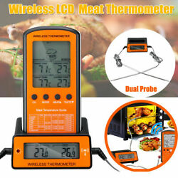 Wireless Remote Digital Thermometer Dual 2 Probe For Bbq Meat Smoker Grill Oven