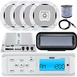 Pyle Plmr14bw Receiver W/ Cover, 4 X 6.5'' Speakers, Amp, Speaker Wire, Antenna