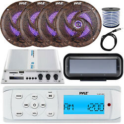 Pyle Plmr14bw Receiver W/ Cover, 4 X 6.5'' Led Speakers W/ Wiring, Amp, Antenna