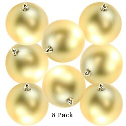 8in Large Matte Gold Christmas Ball Ornaments Shatterproof Plastic 200mm