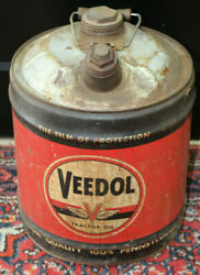 Vintage Veedol Tractor Oil 5 Gallon Advertising Oil Can 1940and039s
