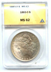 1883-o 1 Anacs Ms62-rare Rainbow Revand Luster And Very White Obv- Morgan Dollar//