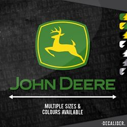 Tall 2 Tone John Deere With Deere Badge Above Sticker Decal - Tractor Lawnmower