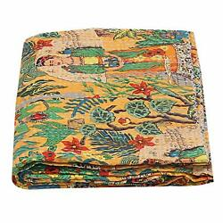 Frida Kahlo Printed Cotton Quilted Blanket Kantha Work Bohemian Bed Decor Quilt
