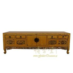 Antique Chinese Carved Bed Foot Chest/coffee Table