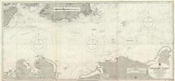 1927 Admiralty Nautical Chart / Map Of Singapore Strait East