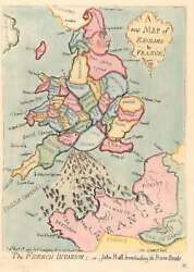 1793 / 1851 Gillray Satirical Caricature Map Of England And France