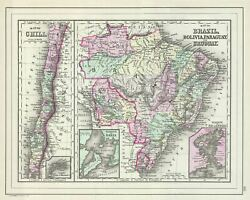 1887 Bradley Map Of Chile Brazil Bolivia Paraguay And Uruguay