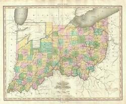 1825 Tanner Map Of Ohio And Indiana