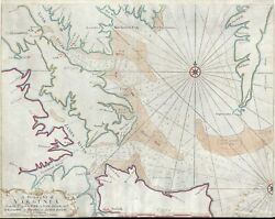 1751 Tiddeman Map Of The Chesapeake Bay Entrance York River And James River