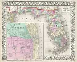 1867 Mitchell Map Of Florida W/ Mobile, Alabama Inset