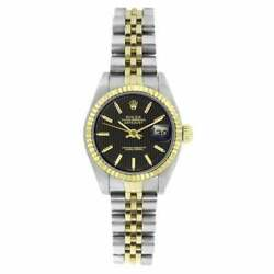 Pre-owned Rolex Women's 6917 Datejust Two-tone Black Black Tapestry Stick Tunic