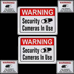 Lot 2 Metal Home Security Video Cameras Alarm System Warning Yard Signs+stickers