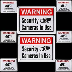 Lot Of 2 Aluminum Home Security Video Cameras Warning Yard Signs+window Stickers
