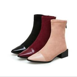 Womens Chic Pointed Toe Low Heels Sock Boots Solid Zipper Square Toe Ankle Boots