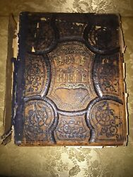Large Antique C.1872 Tooled Leather Family Holy Bible Prayer Book Illustrations